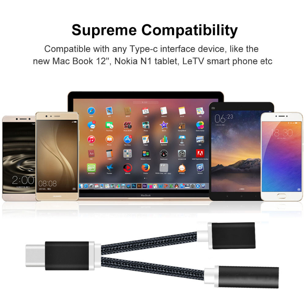 Bakeey 2 in 1 Type C to 3.5mm Audio Jack Charger Adapter Headphone Data Cable for Letv 2 Pro Max Xiaomi 6