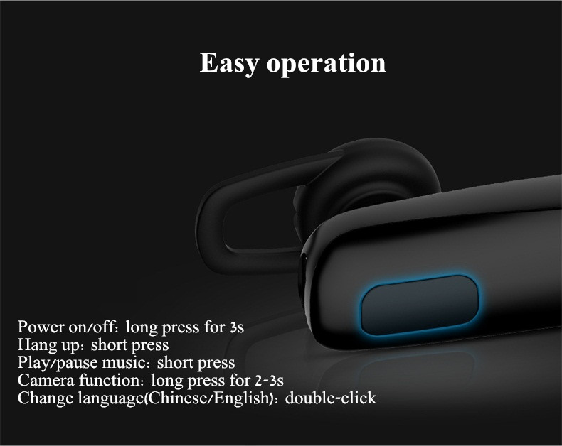 USAMS KL001 Remote Camera Business bluetooth Earphone Headphone with Mic for iPhone Xiaomi