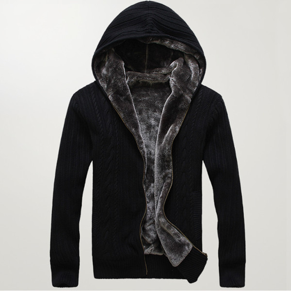 Winter Mens Thick Warm Hooded Cardigan Casual Cashmere Knitted Zipper Sweater