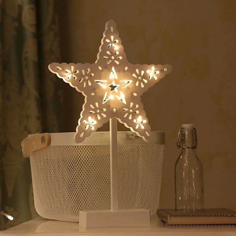 Christmas LED Wooden Table Mini Night Light Desk Lamp Wedding Bedroom Christmas Decor Gifts