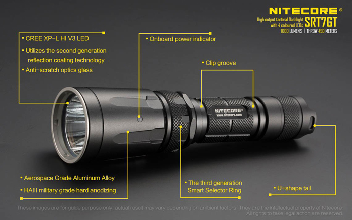 Nitecore SRT7GT Xp-l Hi V3 1000LM Tactical Multicolored-leds Flashlight