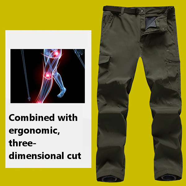 Mens Thick Fleece Double Layer Removable Inner Pants Warm Waterproof Mountaineering Pants