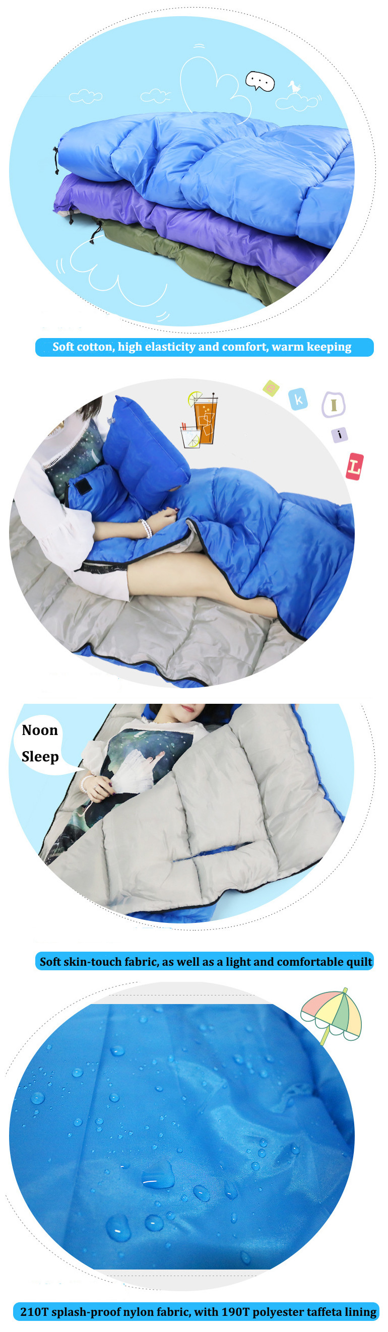 Outdoor Camping Sleeping Bag Adult Cotton Sleep Pad Enveloped Style With Cap