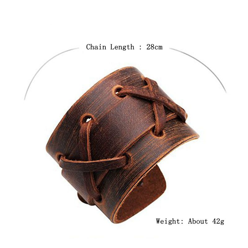Punk Weaving Adjustable Men Bracelets Leather Wristband Cross Bangle Jewelry