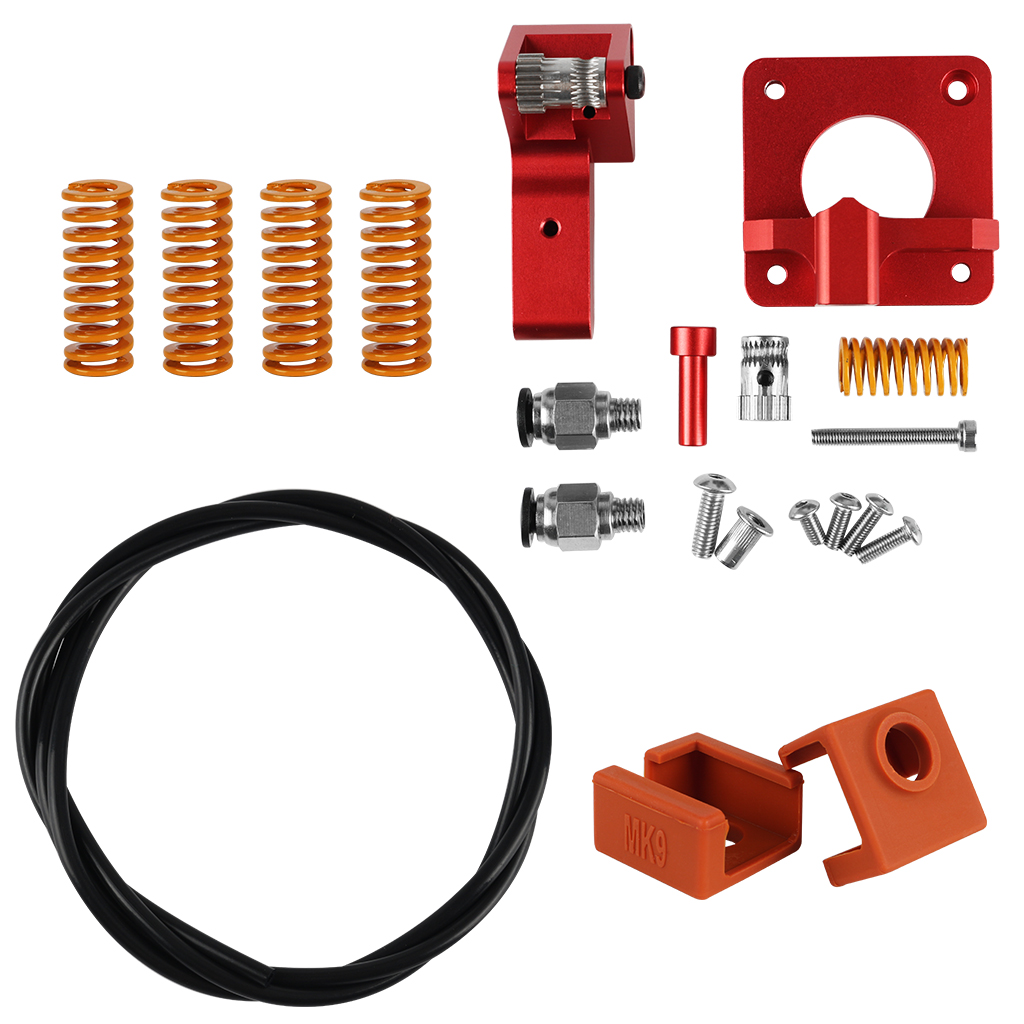 Upgraded Aluminum Dual Gear Pulley Dual Drive Extruder + 4x Leveling Spring + 2x MK9 Silicone Cover + 1M PTFE Tube Kit For Creality CR-10 / CR-10S / CR-10S Pro / Ender-3 / Ender-3 Pro 3D Printer