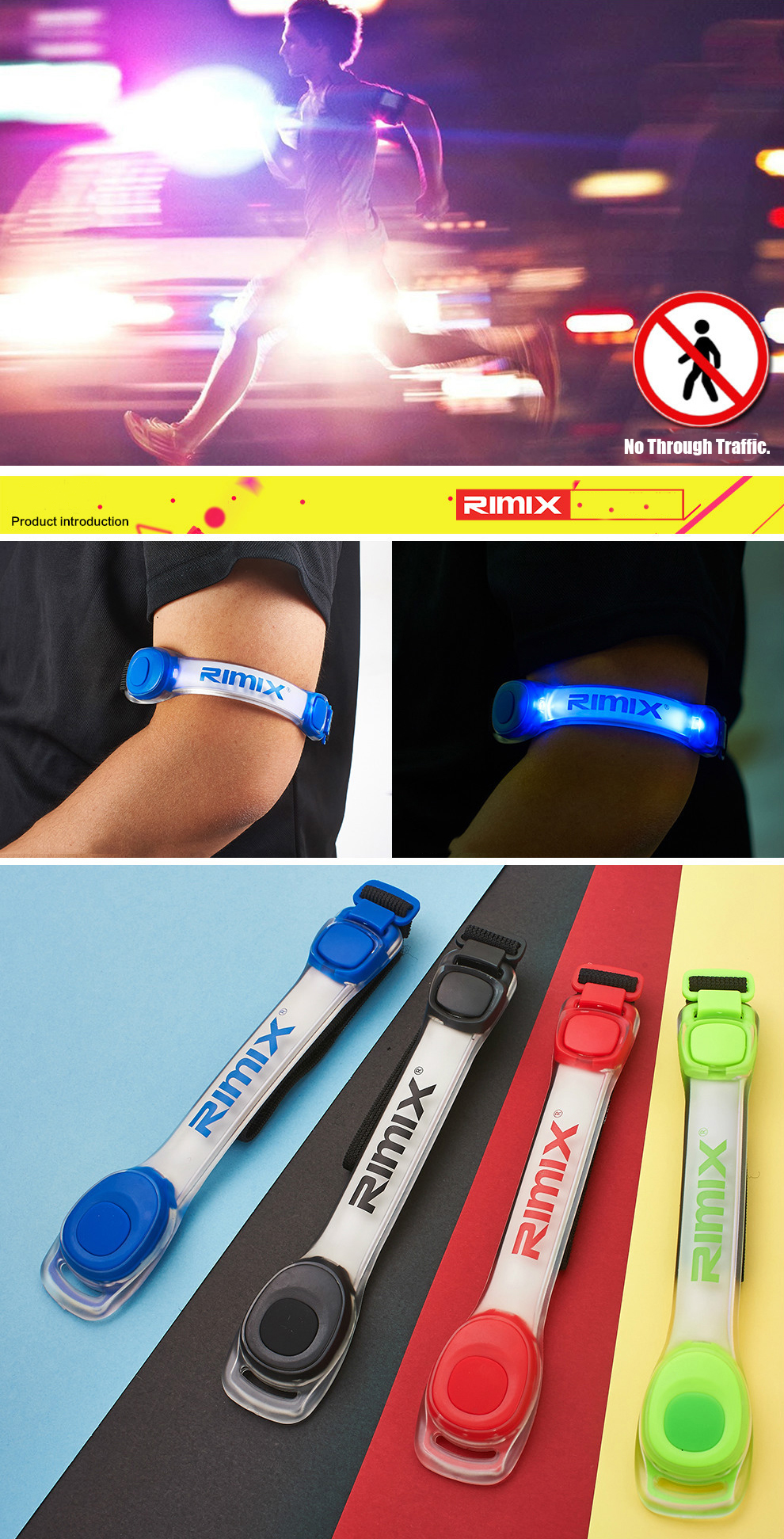 RIMIX Glowing LED Sports Night Running Riding Safety Lights Leggings Reflective Arm Band