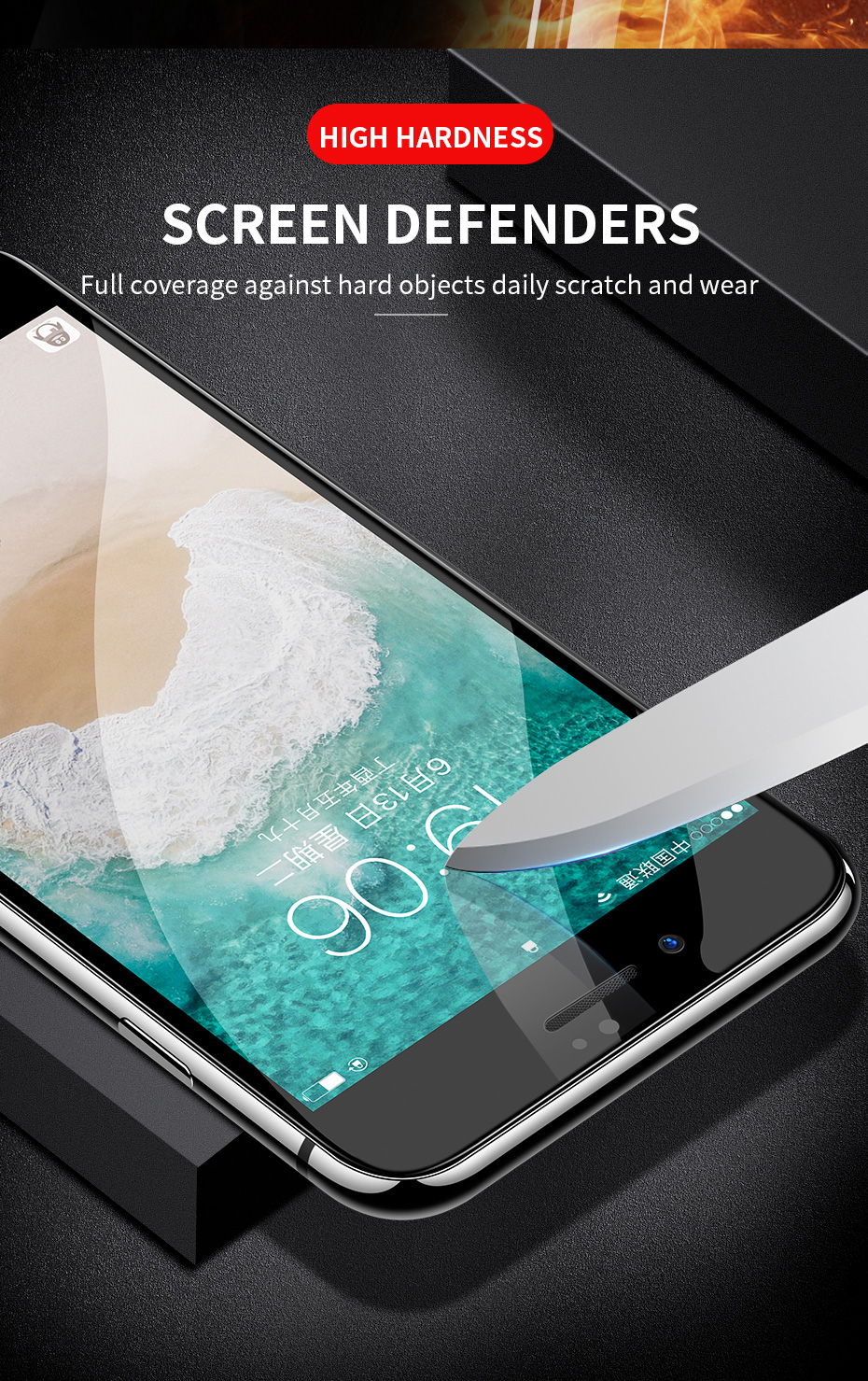 Bakeey 6D Arc Edge Anti Fingerprint Tempered Glass Screen Protector for iPhone 7/8