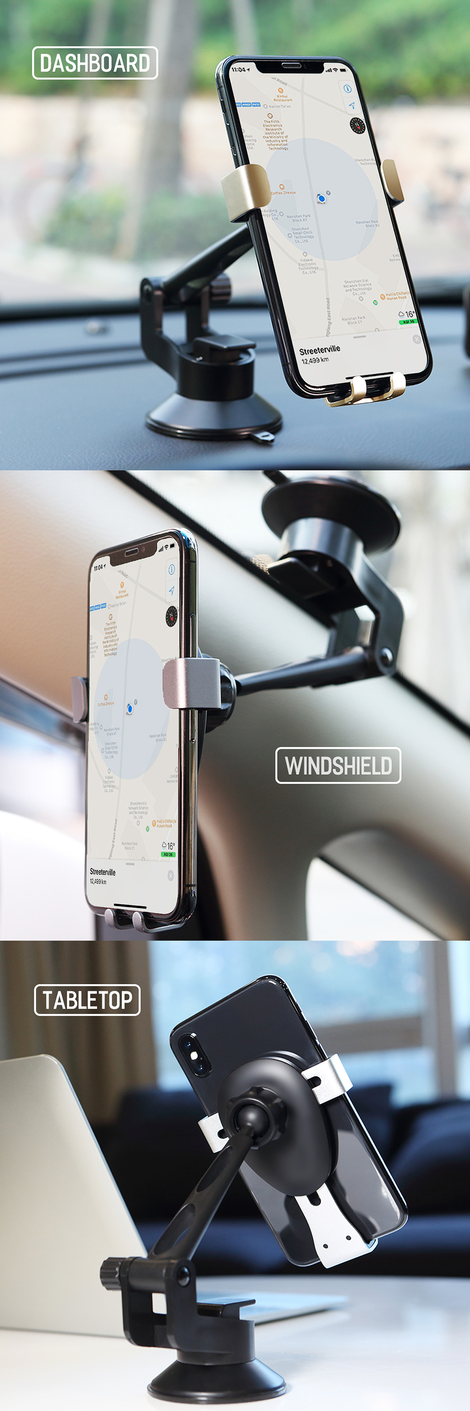 ROCK Metal Gravity Auto Lock Car Holder 360 Degree Rotation Adjustable Sucker Phone Mount Bracket