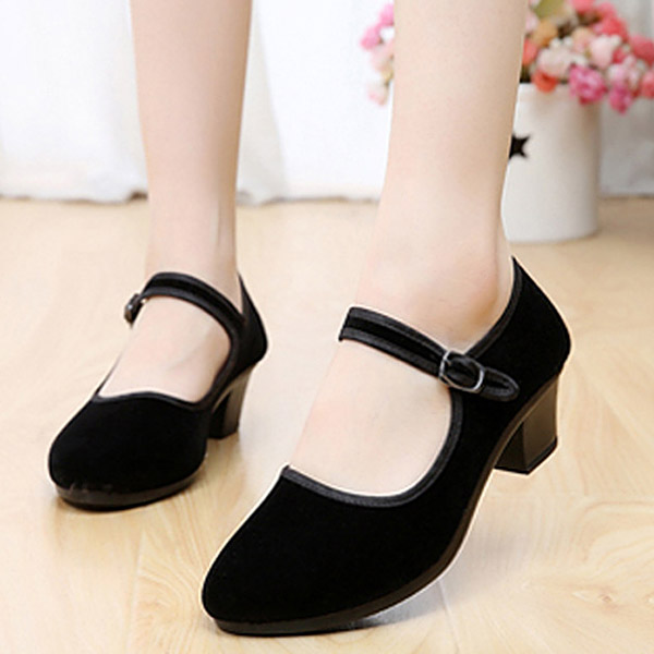 Women Suede Soft Sole Wedge Sandals Breathable Buckle Dancing Sandals