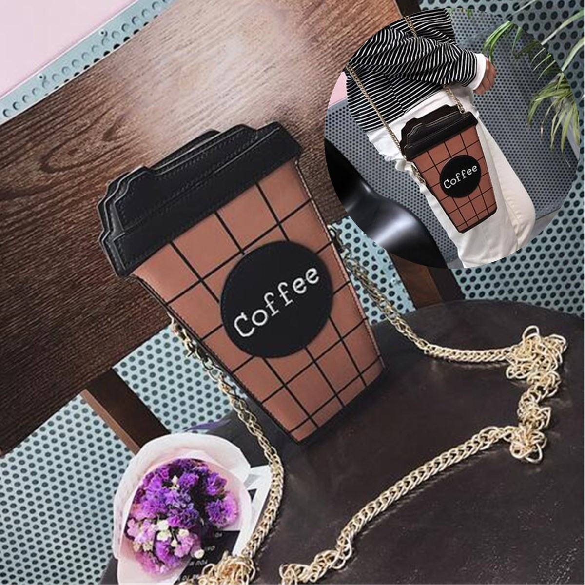 Women Cute Coffee Latte Handbag Messenger Shoulder Chain Totes Bag Purse For iphone X For SamsungS8