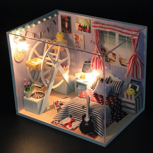 Hoomeda DIY Wood Dollhouse Miniature With LED+Furniture+Cover Dollhouse