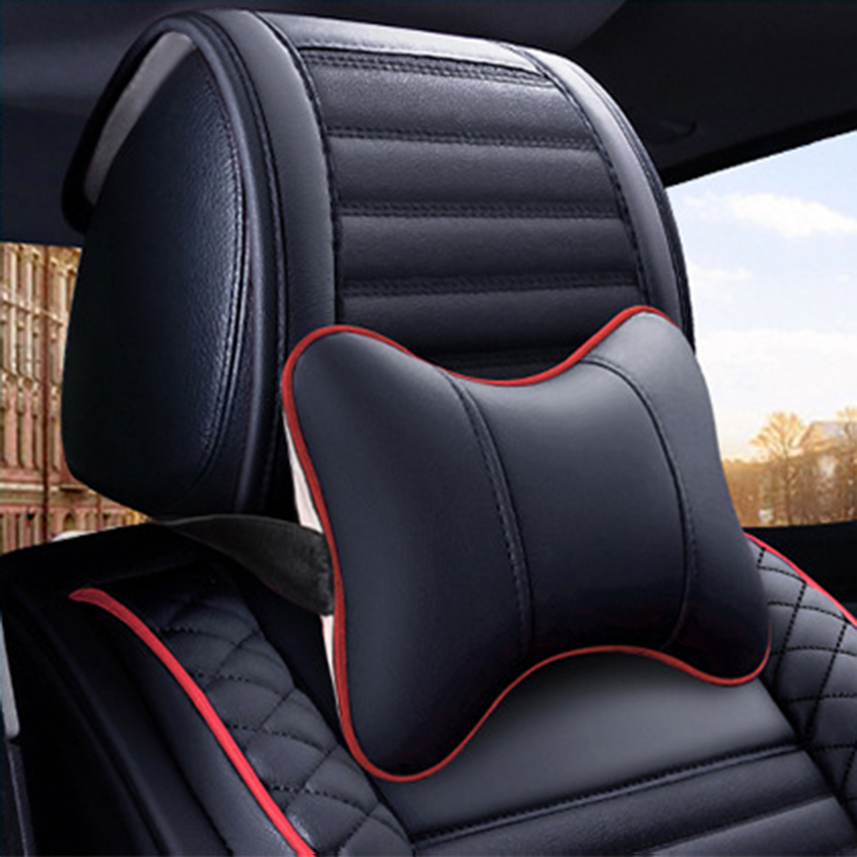 Leather Car Front Seat Cover Cushion Protector with Pillow Universal for Five Seats Car