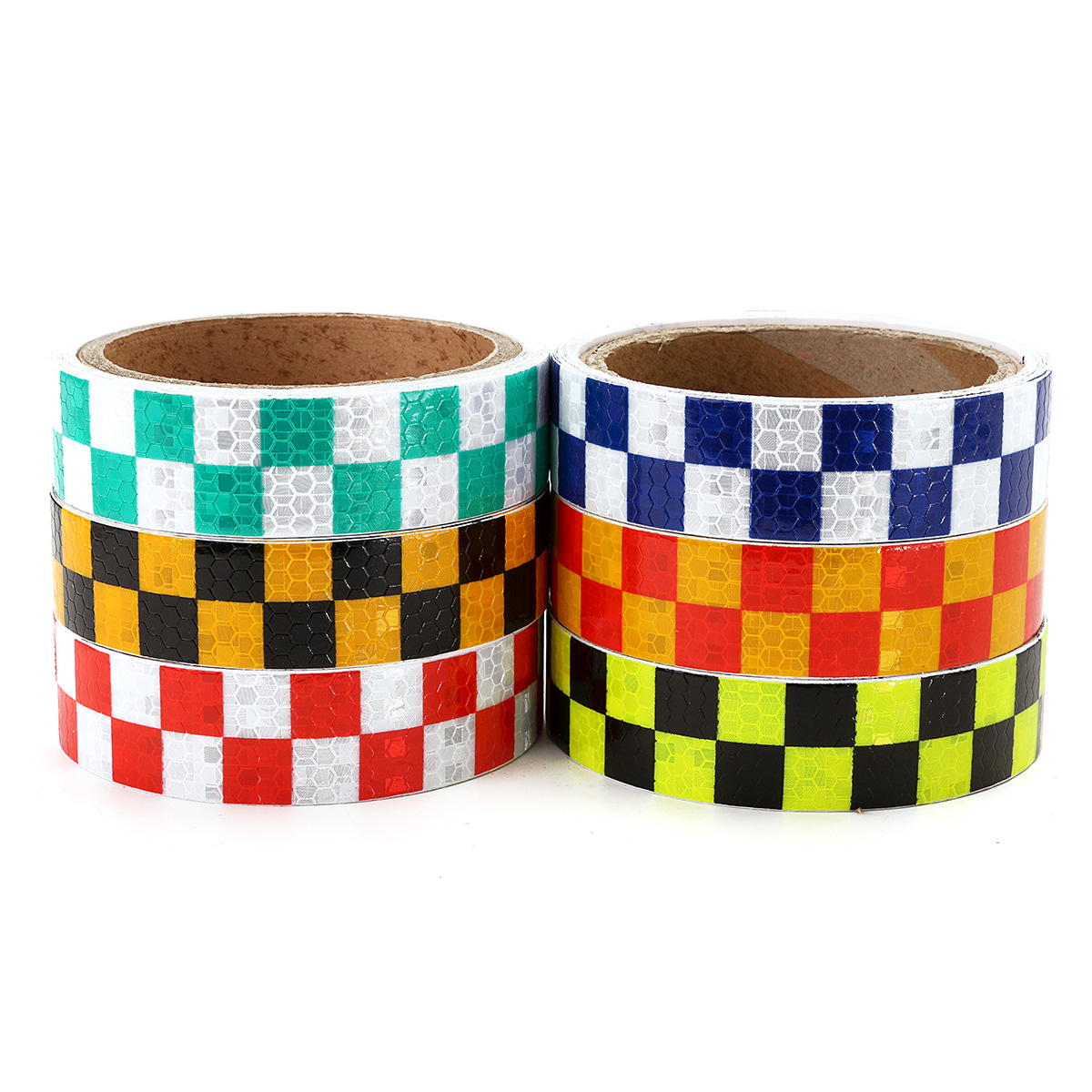 25mm*3m Warning Caution Reflective Sticker Dual Color Chequer Roll Signal