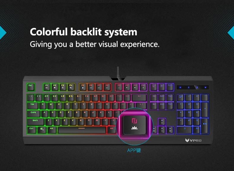 Rapoo V52S 104Keys Backlight Gaming Keyboard Blue Switch Handfeeling USB Wired