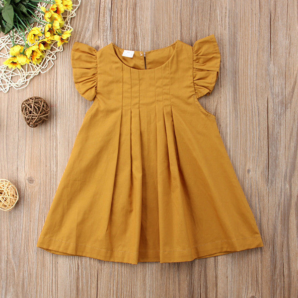 Girls Baby Children Solid Pleated Dress