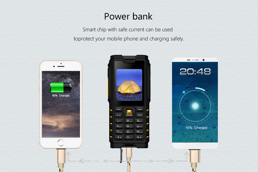 ioutdoor T2 IP68 Waterproof 2.4'' 4500mAh UHF Walkie Talkie bluetooth Dual SIM Card Feature Phone