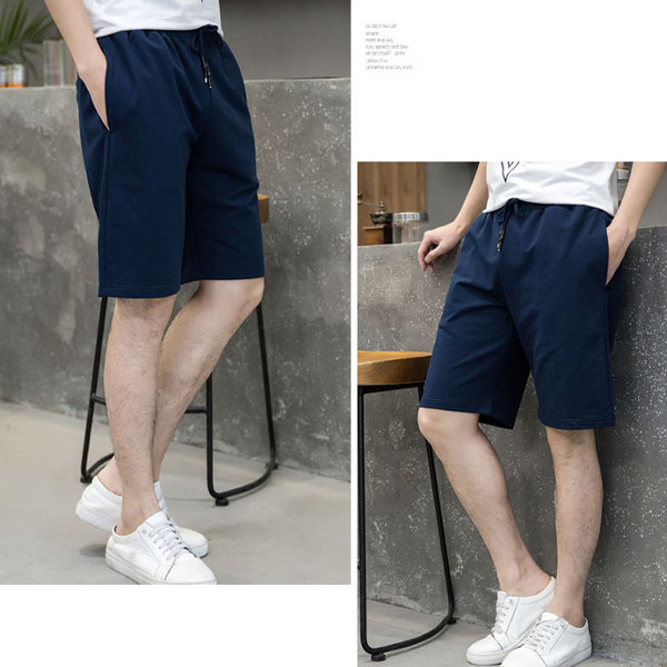 Men's Casual Soft Pure Color Shorts Summer Elastic Waist Drawstring Knee Length Beach Shorts