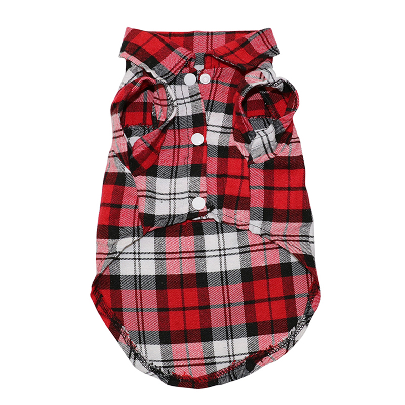 Pet Dog Clothes Soft Puppy Spring Summer Plaid Shirt Outfits Pet Clothing Pet T-shirt