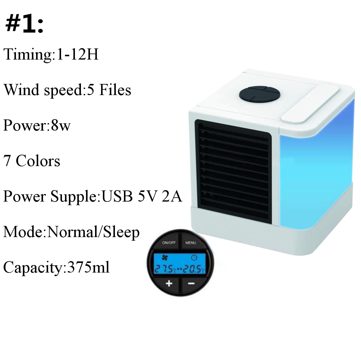 3 In 1 Mini Air Conditioner Portable Fan Personal Space Air Cooler Humidifier
