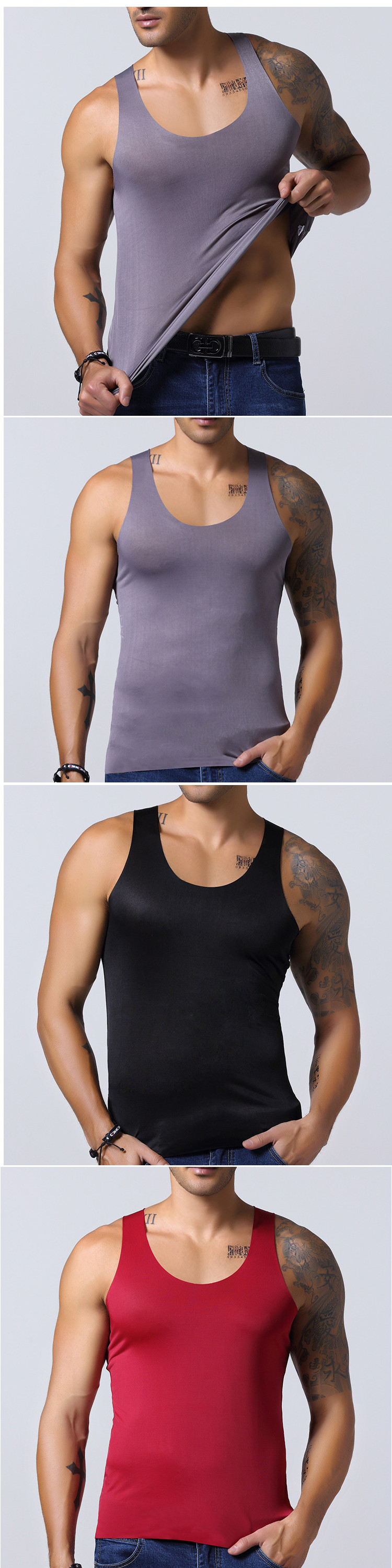 Men's Seamless Ice Silk Vest Leisure Solid Color Thin Elastic Fitness Sports Tanks Tops