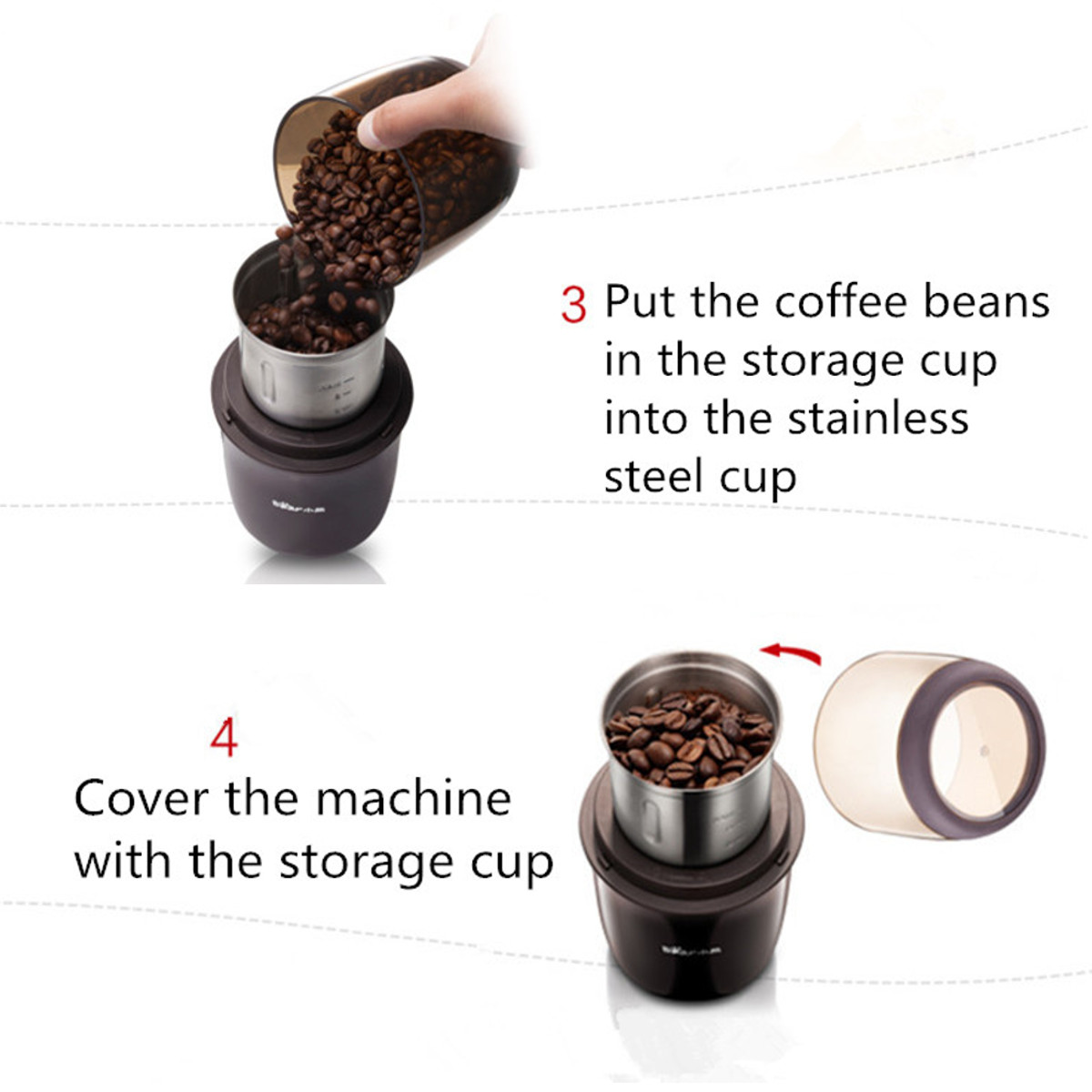 Electric Mini Auto Coffee Bean Grinder Stainless Steel Blade Mill Spice Maker Coffee Grinder