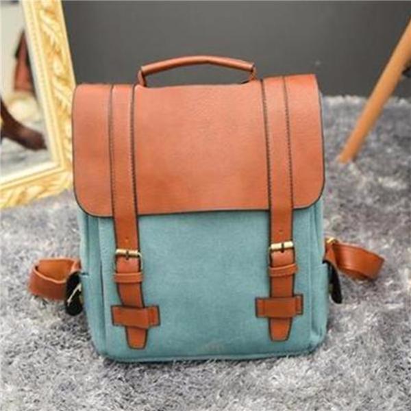 Women Vintage Canvas Leather Travel Backpack Satchel Rucksack Laptop School Bag