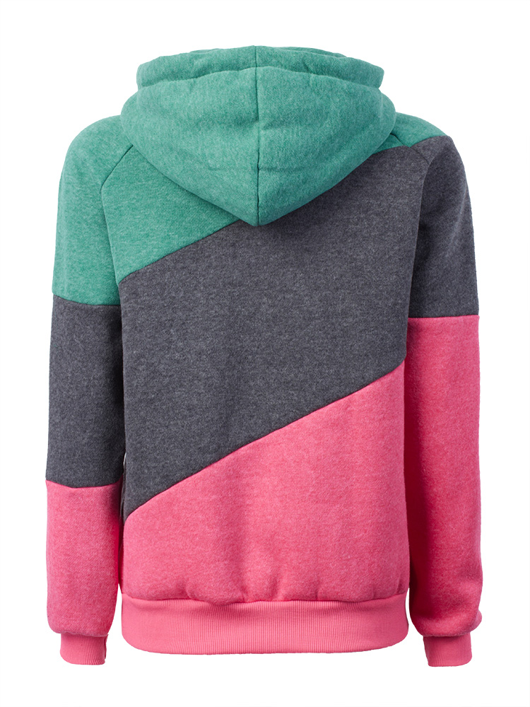 Casual Women Long Sleeve Patchwork Hooded Sport Pullover Sweatshirt
