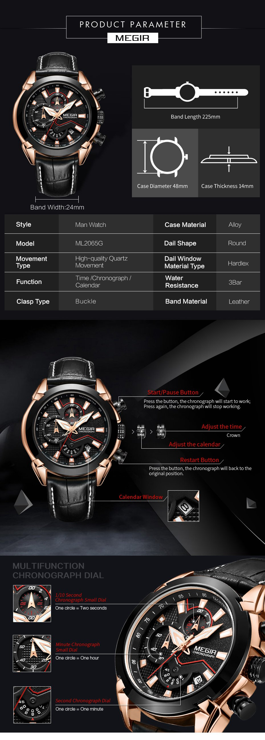 MEGIR 2065 Sport Watches Creative Chronograph Quartz Leather Strap Men Watch