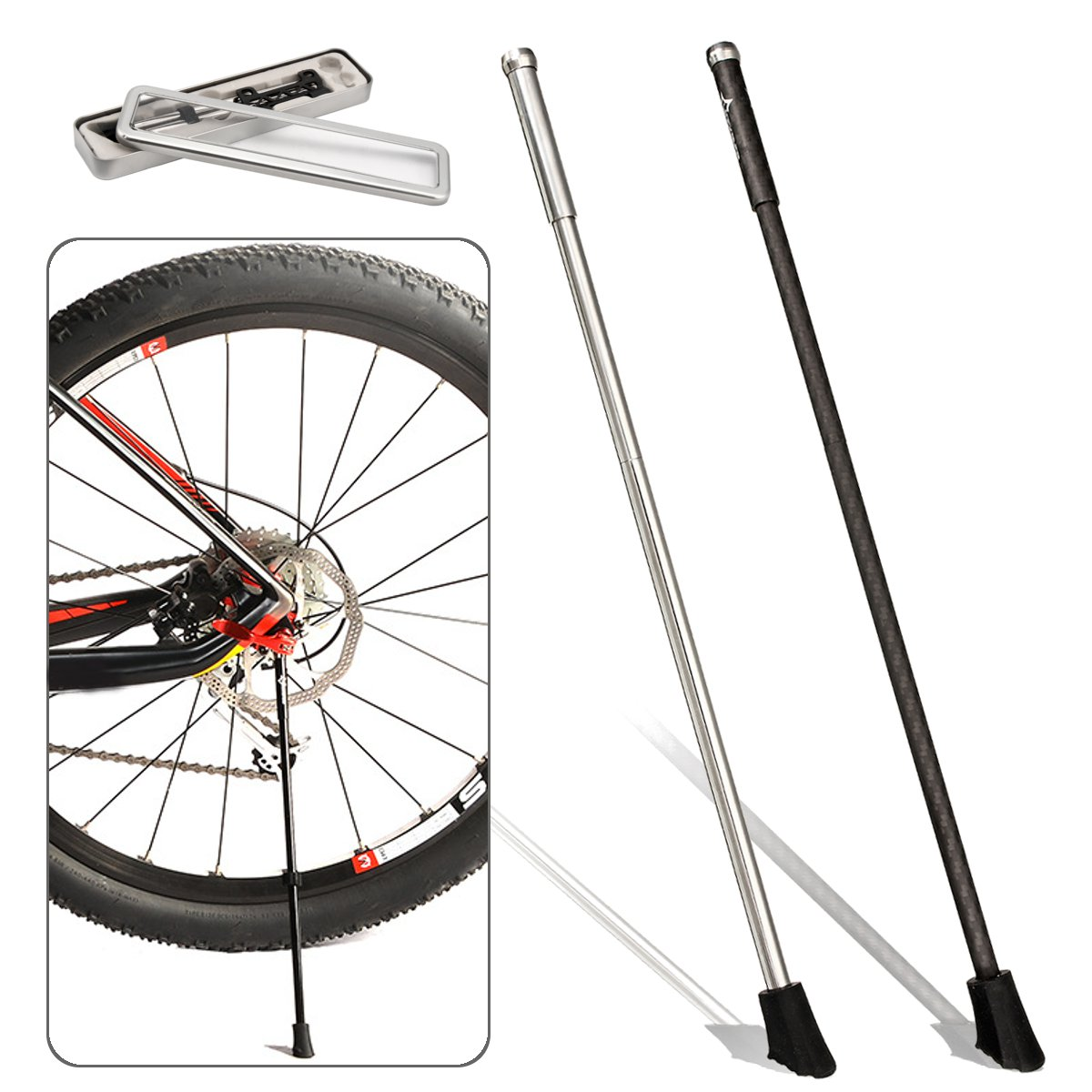 BIKIGHT Carbon Fiber/ Stainless Steel Cycling Bike Kickstand Road Bicycle Portable Quick Release Stand