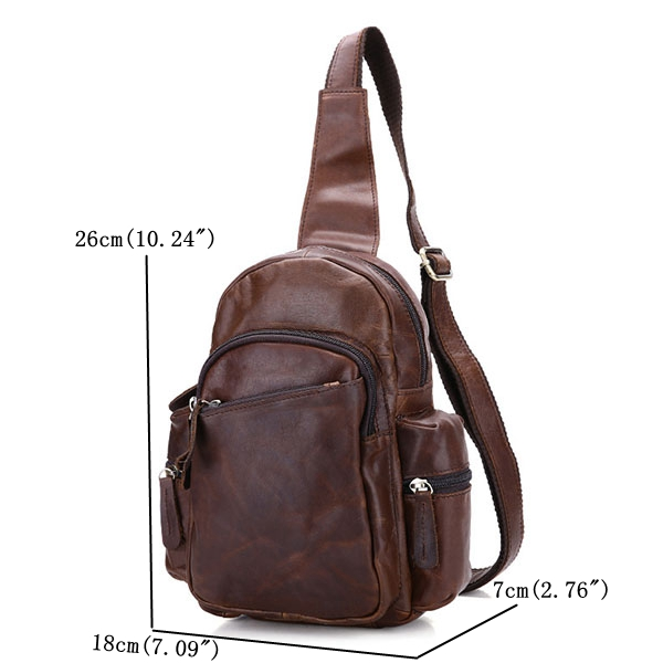 Genuine Leather Chest Bag Casual Vintage Crossbody Bag For Men