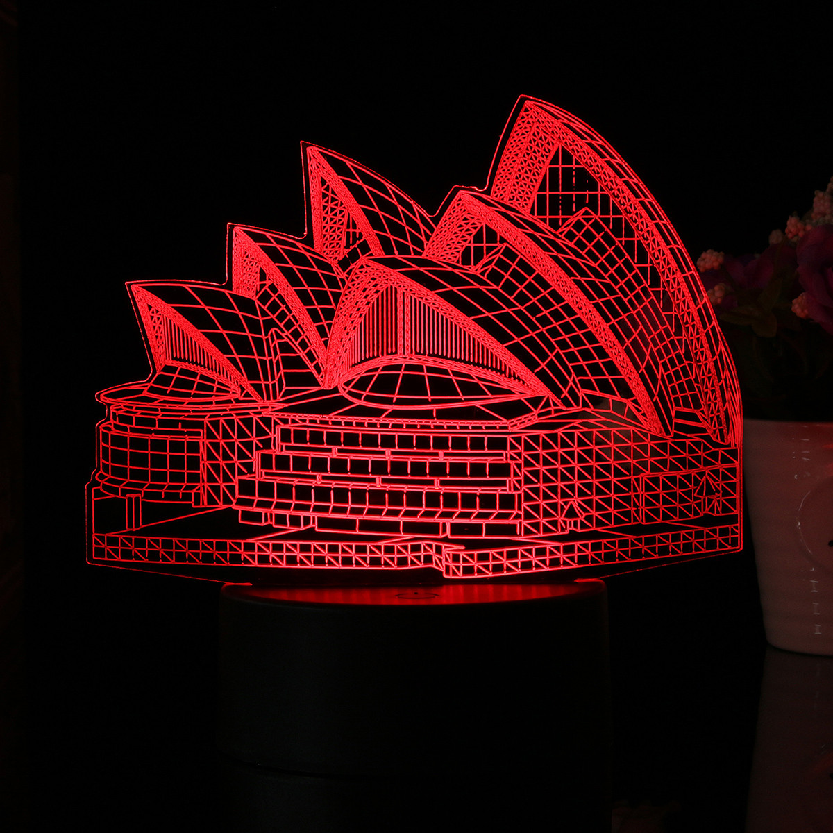 Sydney Opera House 7 Color 3D LED Desk Table Lamp Touch Switch + Remote Control