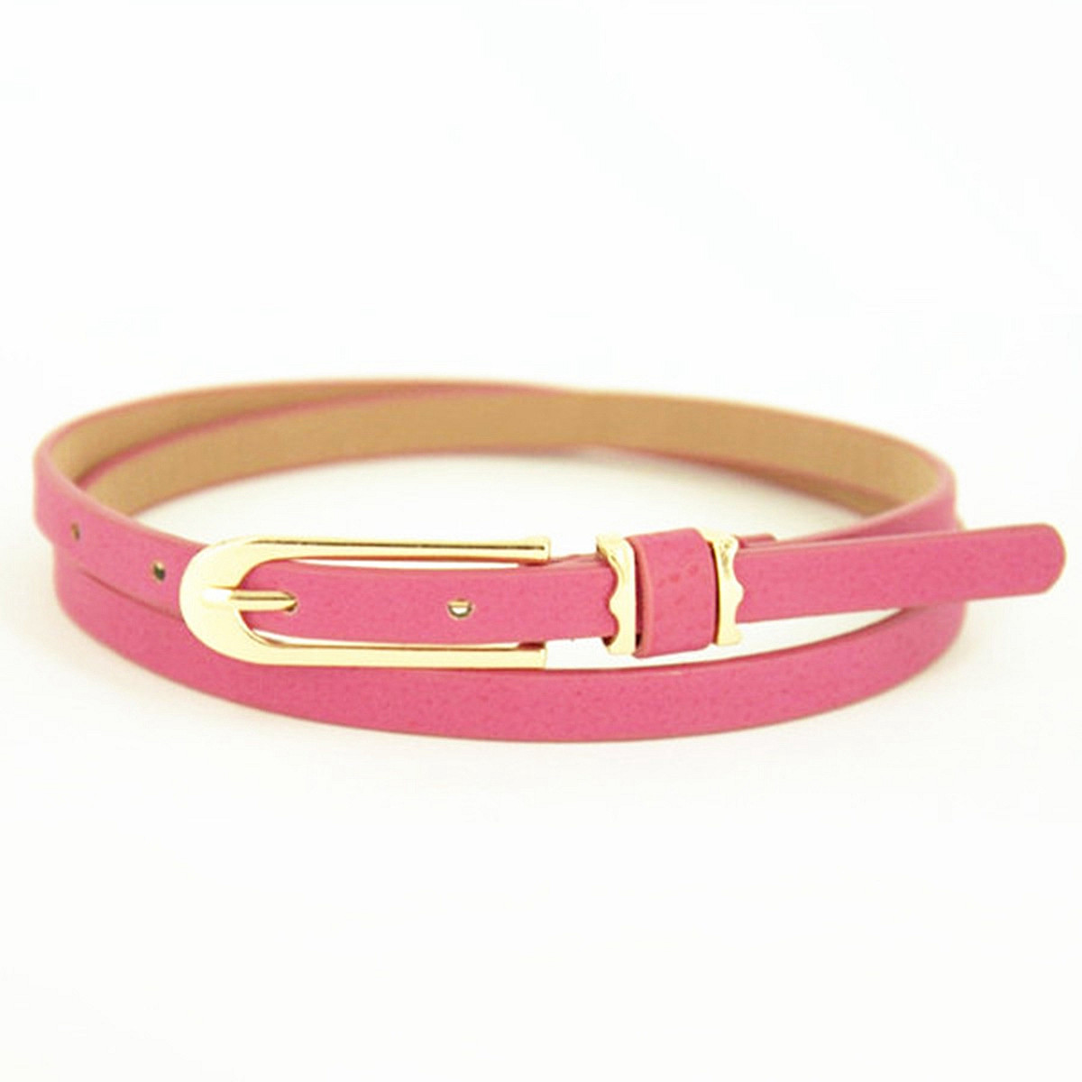 Women Ladies Small Faux Leather Waist Belt Thin Narrow Waistband Strap