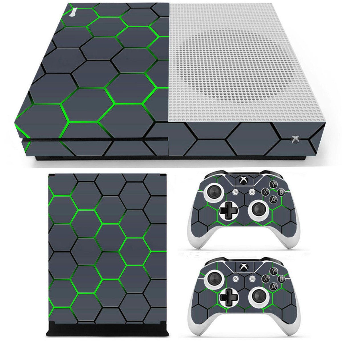 Green Grid Vinyl Decal Skin Stickers Cover for Xbox One