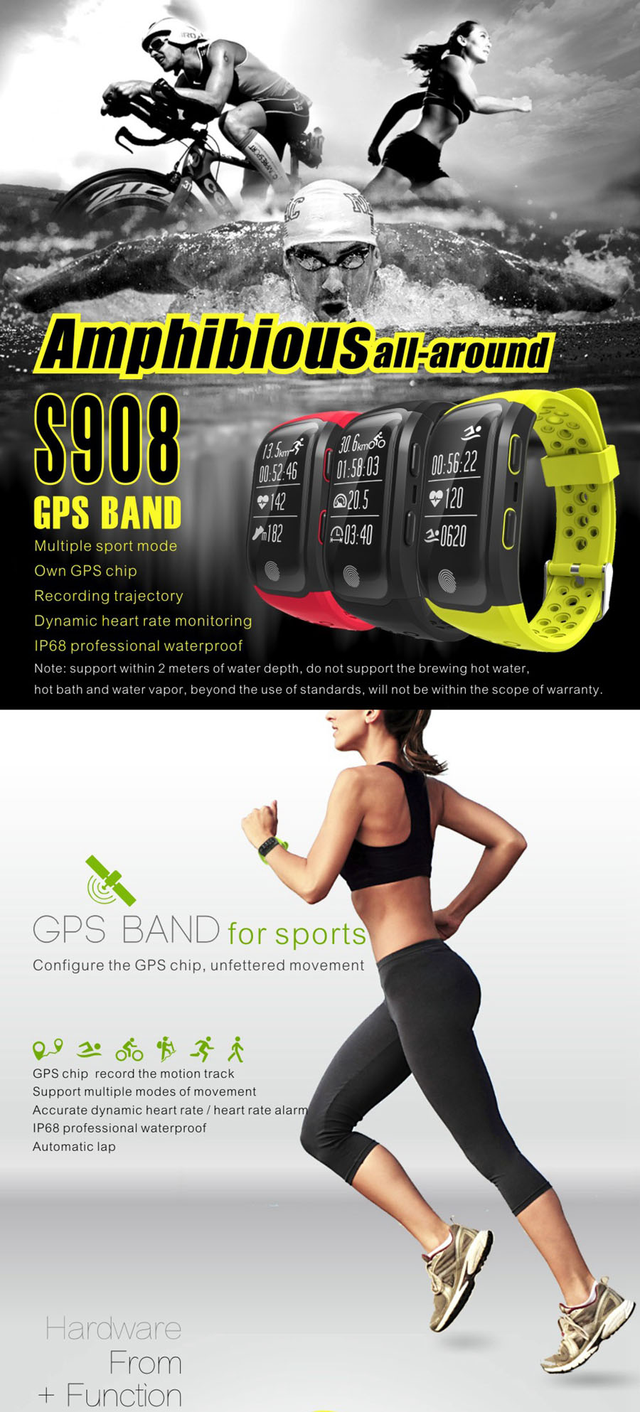 S908 GPS bluetooth Band Multiple Movement Patterns Heart Rate Swimming Sport Smart Bracelet