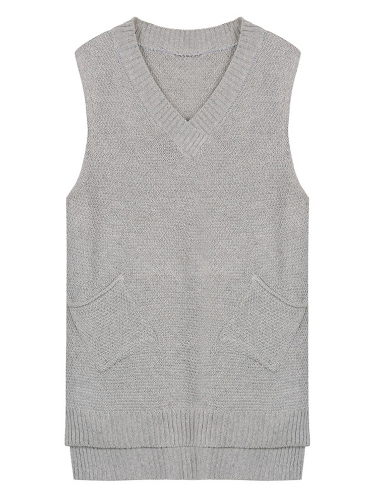 Pocket Casual Pure Color Sleeveless V Neck Knit Women Vest Sweater