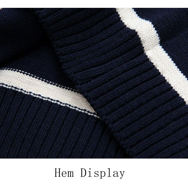Winter Thick Casual Stand Collar Sweaters Mens Stripe Knitted Zipper Jacquard Cardigan