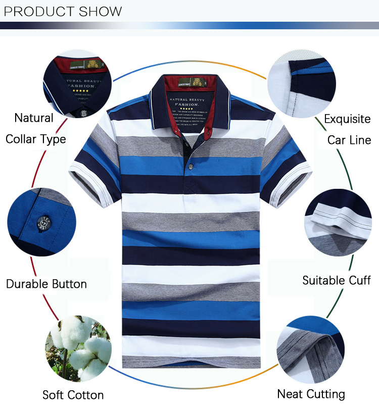 Mens Summer Casual Contrast Color Striped Golf Shirts