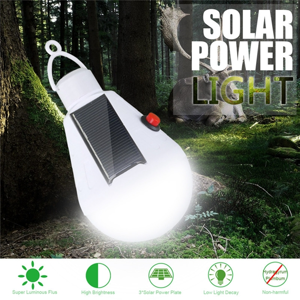 Solar 9W E27 18 LED Bulb Camping Night Light With Switch USB Rechargeable for Outdoor Tent Fishing