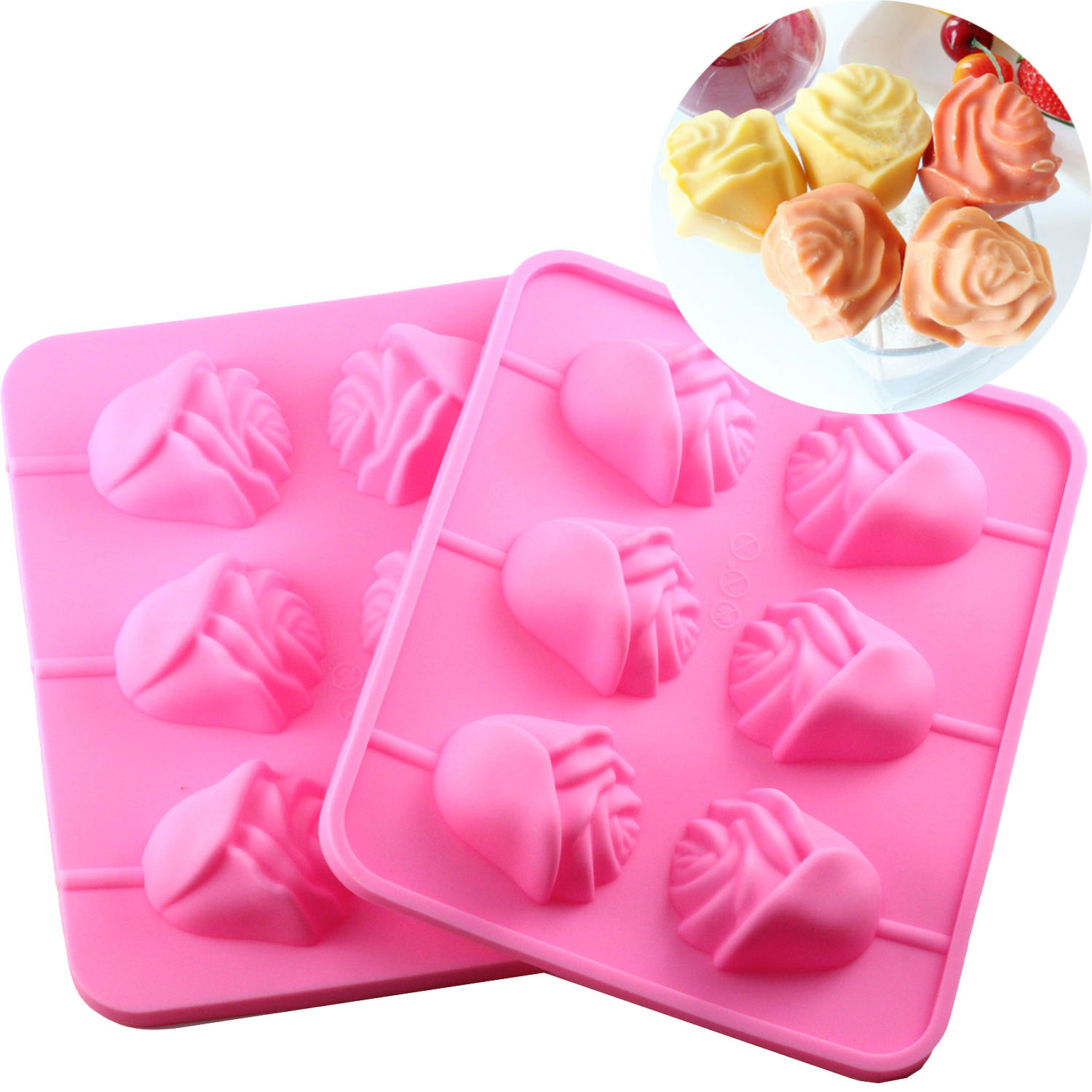 6 Rose Shapes Silicone Lollipop Baking Mold Tray 1pcs Pop Cake Stick Mould for Party Holidays Cupcake Baking Tools