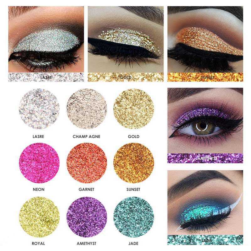 FOCALLURE 9 Colors Diamond Glitter Eye Shadow Palette