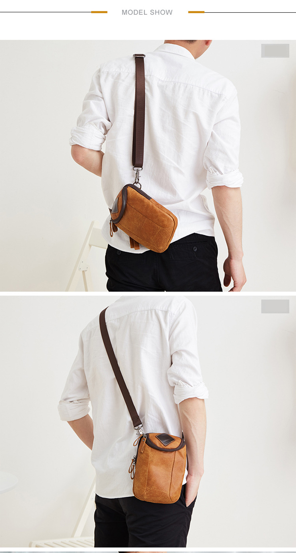 Men Genuine Leather Crossbody Bag Riding Hip Bum Waist Pack Small Messenger Bag with Shoulder Strap