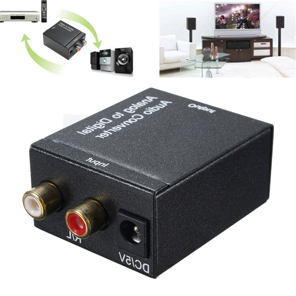Analog L/R to Digital SPDIF Coaxial Coax RCA with Optical Toslink Audio Converter Adapter