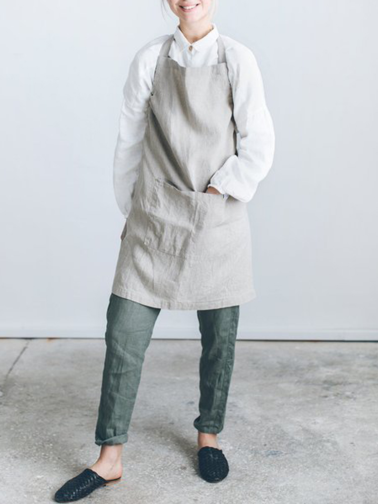 Japanese Dress Women Strap Linen Cotton Apron Solid Color Pocket Dress