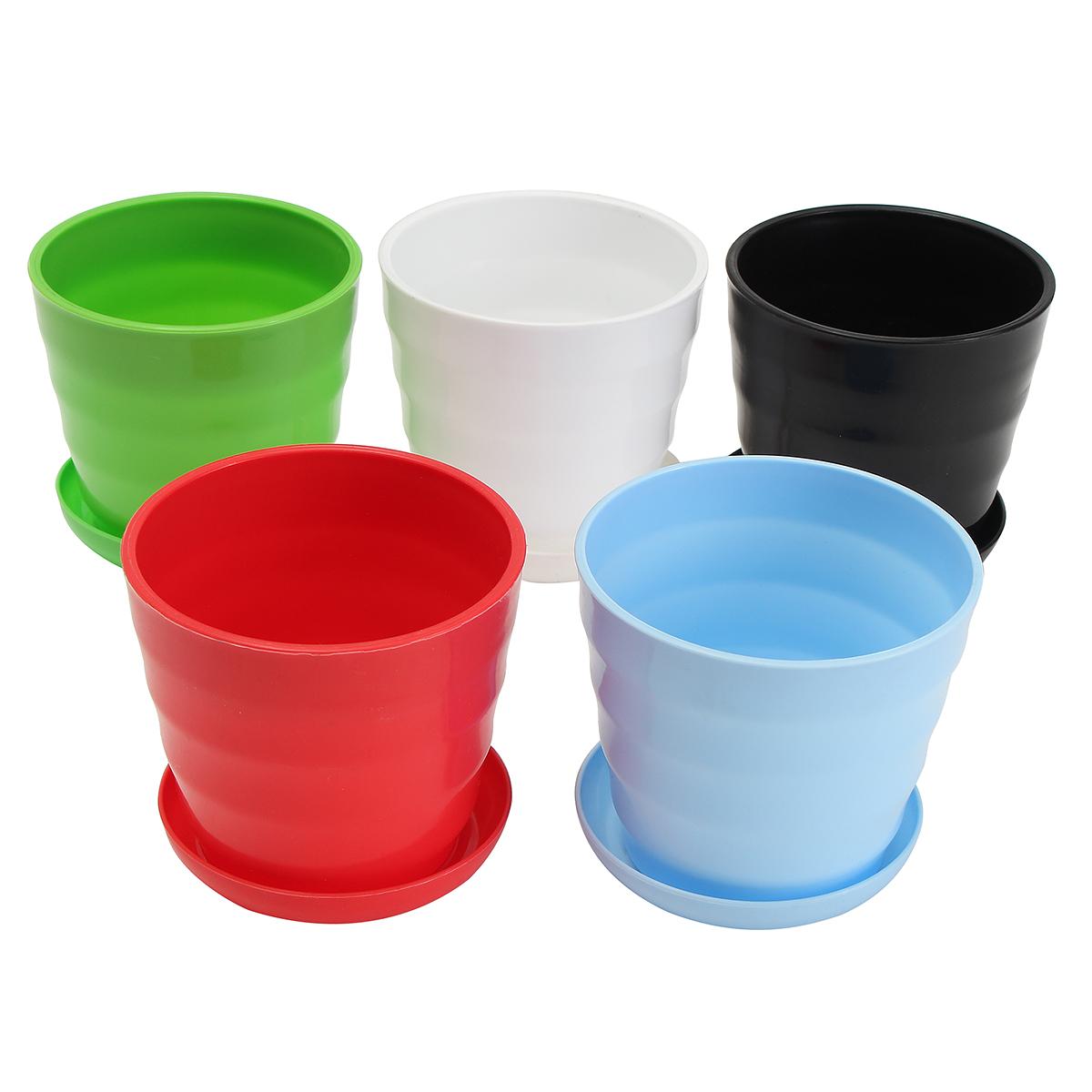 Medium Plastic Plant Pot Colorful Flower Pot Durable Decoration Container DIY Home Garden