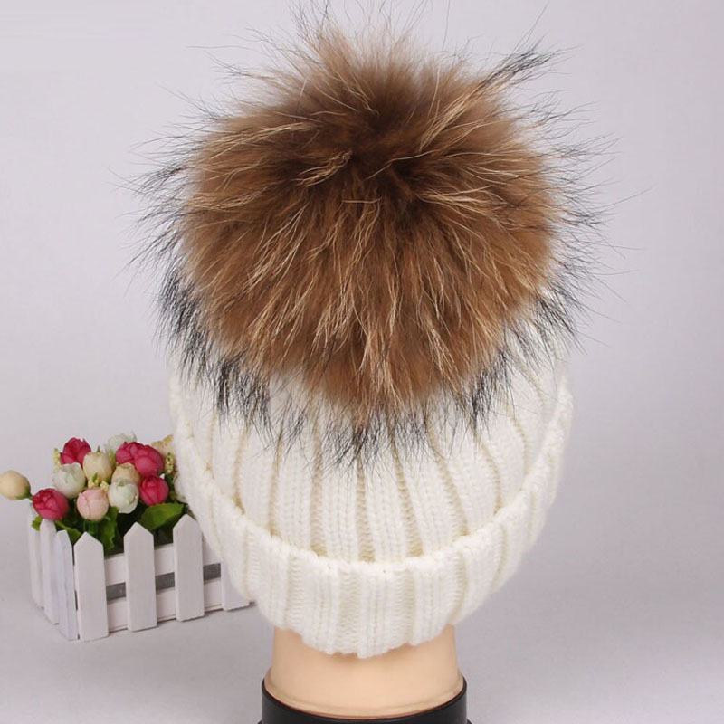 Women Fur Ball Knitting Beanie Beret Cap Winter Warm Vogue Ski Baggy Hat