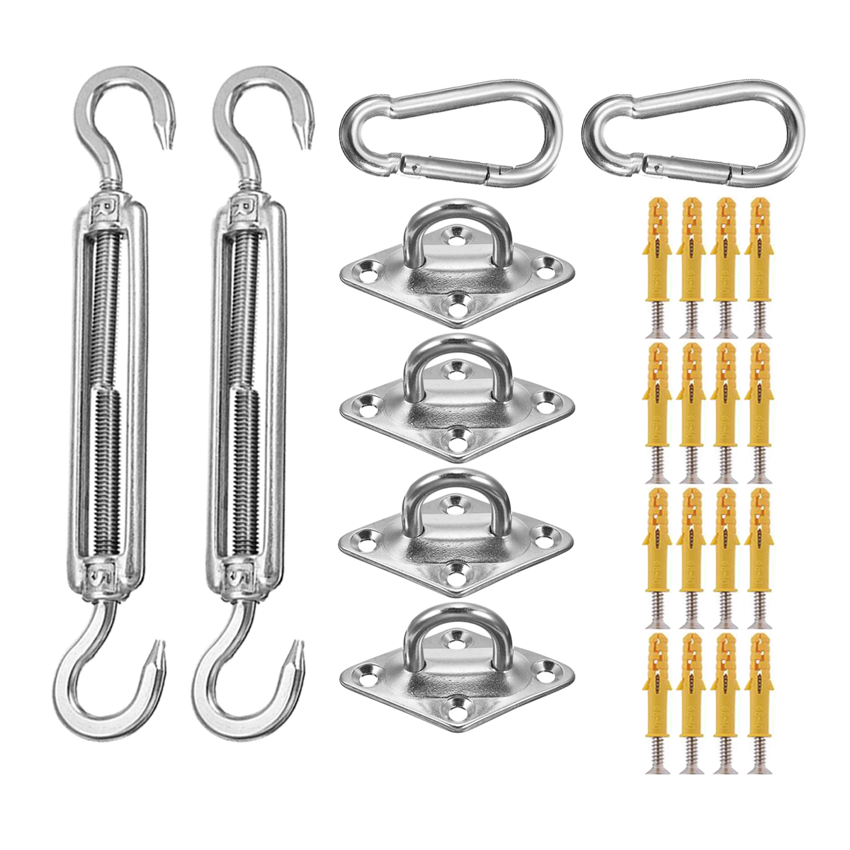 24pcs Pad Eye Turnbuckle Snap Hook Screw with Wall Plug Accessories for Rectangle or Square