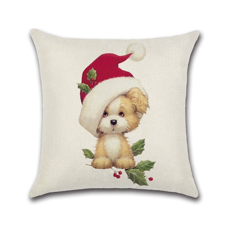 Merry Christmas Lovely Cats Dogs Cushion Covers Pillow Case Seat Sofa Pillow Cover Linen Cotton Square Cushion Cover Party Decor