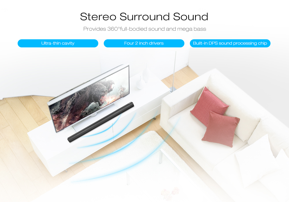 N-S08H TV Soundbar 40W HiFi 3D Dual Units Wireless bluetooth Speaker Home Theater Subwoofer