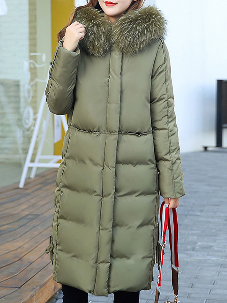 Casual Women Pure Color Long Sleeve Fur Hooded Mid-long Down Coats
