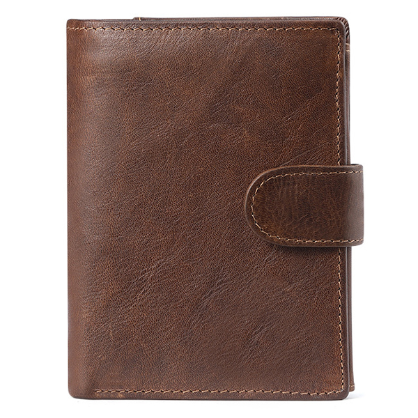 Men Cowhide Coin Bag Zipper Pocket Photo Holder Retro Casual Short Wallet